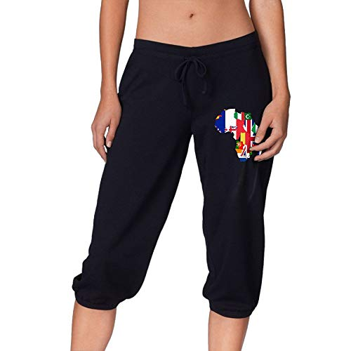 The Scramble for Africa Women's Workout Knee Pants for Jogging Leisure Sports Pants by WEP8LF