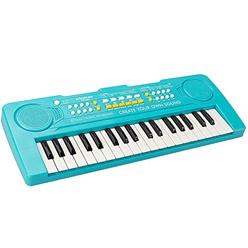 aPerfectLife Keyboard for Kids, 37 Keys Multifunction Portable Piano Electronic Keyboard Music Instrument for Kids Early Learning Educational Toy (Blue)