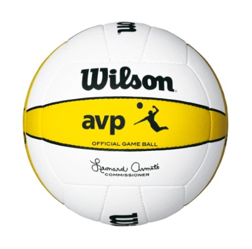 WILSON AVP-Ballon de Beach-Volley-Jeu de Taille 5 (Blanc/Jaune