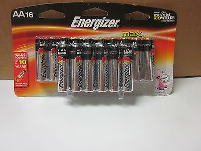 16 PACK AA ENERGIZER MAX BATTERIES ~ AA ALKALINE BATTERY ~ EXP 2023 10 YEAR HOLD