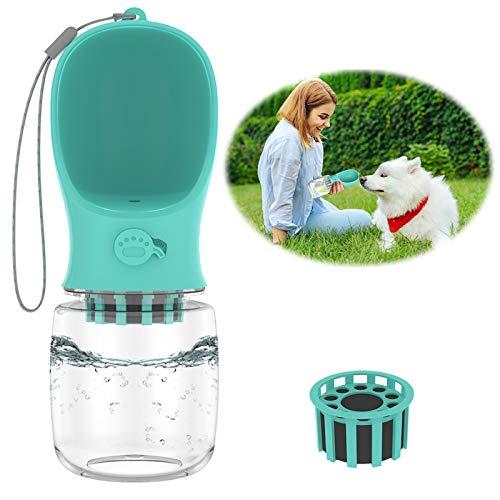 Dog Water Bottles for Walking, Portable Dog Bowl Water Bottle for Dogs Upgrades 12oz Dog Water Bottle Dispenser with Filter Leak Proof Dog Travel Water Bottle for Dogs Cats,BPA Free Food Grade (Blue)