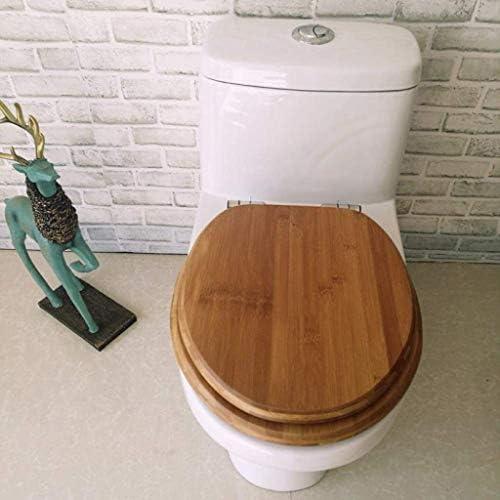 CXMMTGトイレのふた 便座スローダウンミュートトイレシートカバー肥厚トップと竹木製のトイレの蓋をV/O/Uがトイレをシェイプするように取り付けられた浴室の蓋、OneColor-40〜38センチメートル〜48センチメートル* 33 CXMWY-4W0Y2