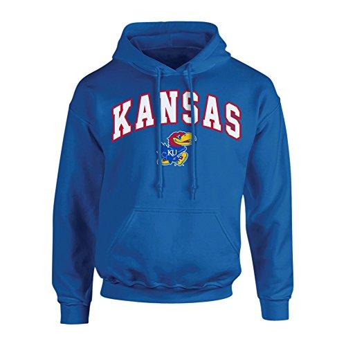 Elite Fan Shop NCAA Men's Kansas Jayhawks Hoodie Sweatshirt Team Color Arch Kansas Jayhawks Blue Large (Kansas Jayhawks Apparel)