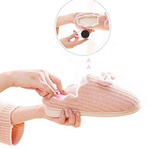 DWW-Taihewen firms Hausschuhe niedlichen Innen warm zu Hause dicke weiche wasserdichte rutschfeste Schuhe Pink