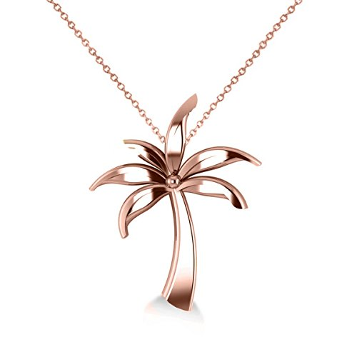Allurez Summer Palm Tree Ladies Pendant Necklace in 14k Rose Gold by Allurez