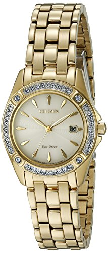 Citizen Eco-Drive Women's 'Silhouette' Quartz Stainless Steel Casual Watch, Color: Gold-Toned (Model: EW2352-59P)