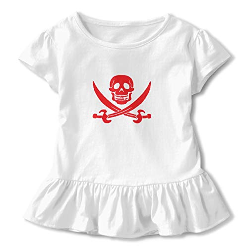 Toddler Girl Anchor Pirate Short Sleeve Dress Ruffle T Shirts Tops Tee Clothes White -