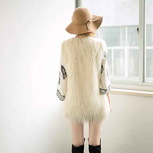 Feixiang Chaleco Chaqueta Moda Mujer Chaleco Largo Chaqueta sin Mangas Abrigo Chaqueta de Pelo Largo Chaqueta de Las señoras Invierno 2018 Ventilador ...