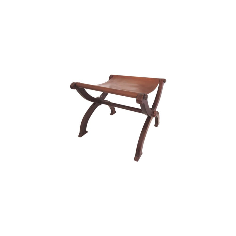 Armorvenue: Folding Wooden Stool with Leather Seat