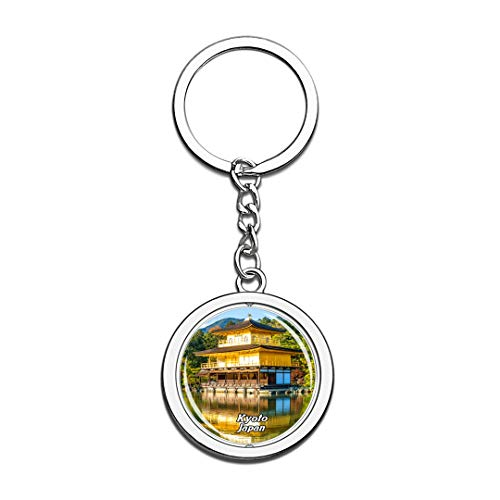 Kinkakuji Temple Kyoto Japan Keychain 3D Crystal Spinning Round Stainless Steel Keychains Travel City Souvenir Key Chain -