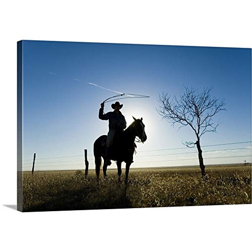 GREATBIGCANVAS Gallery-Wrapped Canvas Entitled Silhouette of a Cowboy with a Lasso in Texas by - Canvas Fence