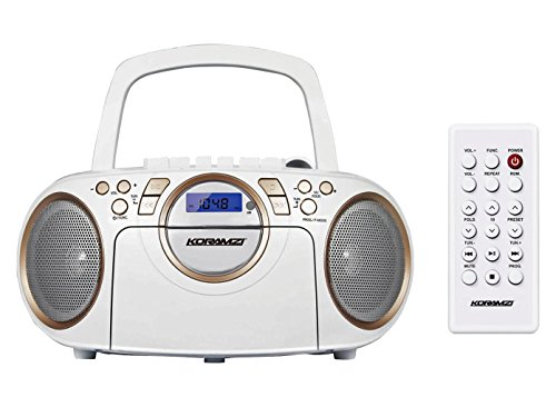 Koramzi Portable CD Boombox Full Range Stereo Sound System w/ Top-Loading MP3 CD Player, Cassette Player and Recorder, AM/FM Radio, USB Input, Headphone & AUX Jack w/ Remote Control- CD705CWH(White) (Boombox Cd Player White)