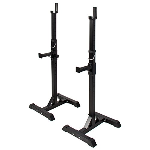 Pair of Adjustable Standard Solid Steel Squat Stands Barbell Free Bench Press by BUY JOY