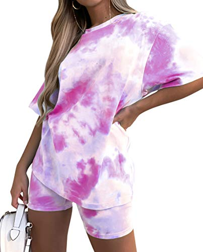 Women Two-Pieces Outfit Cute Short-Sets - Short Sleeve Tops Pants Set Tie Dye Casual Summer Shirts Tracksuit
