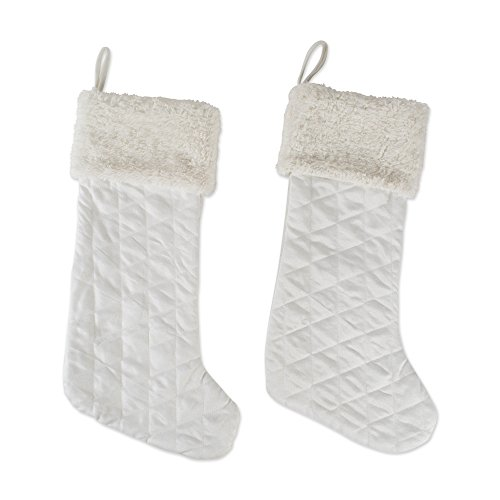 DII CAMZ10916 Stockings, Fireplace Ornament, Holiday Décor, or Christmas Party, Set of 2, Diamond Quilted, 2 Pack