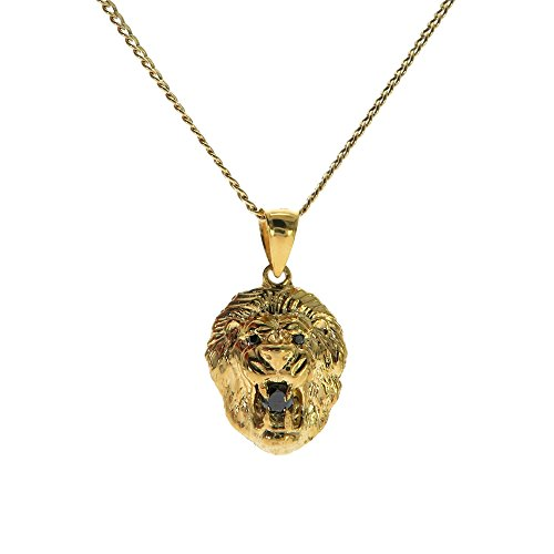 Traxnyc Genuine Stamped 10K Yellow Gold Cuban Curb Link Chain Small Charm Pendant Necklace [Assorted Sets] (Lion Head with Black Diamonds + 24 Inches Necklace)