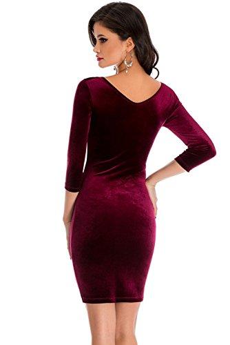 Neue Damen burgund Hohl Out Samt Lange Kleid Mini Kleid Club Wear Sommer  Kleid Party Kleid ...