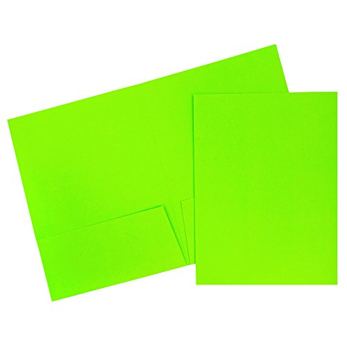 JAM Paper 2 Pocket Cardstock Presentation Folders - Neon Green - 120/Box by JAM Paper