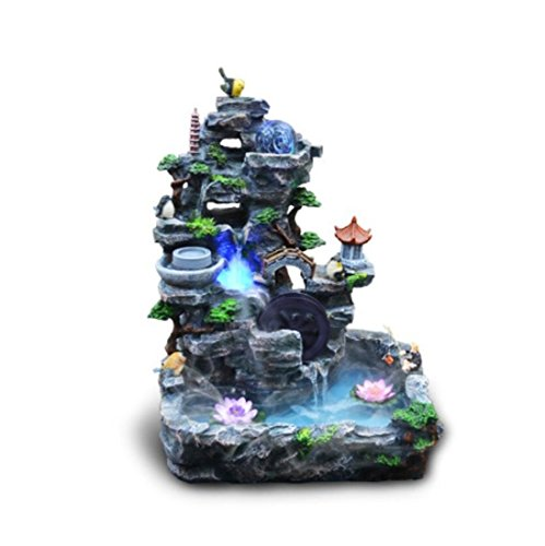GL&G Large Resin rockery Water Tabletop Scenes Floor-Standing Fountains Fish tank Bonsai Home office Ornaments Humidifier Parts Indoor Tabletop Fountains High-end Business gift,503764cm by GAOLIGUO
