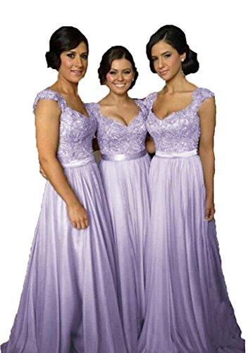 (Fanciest Women' Cap Sleeve Lace Bridesmaid Dresses Long Wedding Party Gowns Lavender US12)
