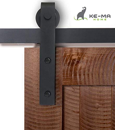 "KEMA HOME 6.6 FT Heavy Duty Sliding Barn Door Hardware Kit, Modern Rustic, Single Rail, Black Powder Coated Finish, Smooth and Quiet Slider, Fits 36""-40"" Wide Door Panel"
