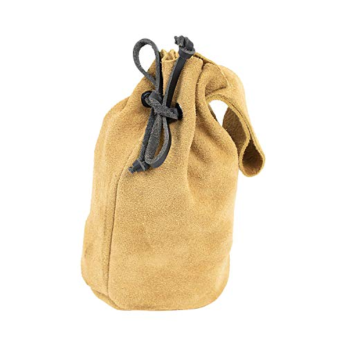 Mythrojan Pouch In Suede leather Drawstring Belt Pouch Bag Renaissance Larp]()
