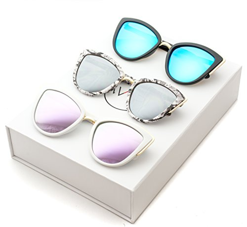 Womens Cat Eye Mirrored Revo Reflective Lenses Oversized Cateyes Sunglasses (Box: Mirror Purple / Mirror Blue / Mirror Silver, - Mirrors Inside With Sunglasses