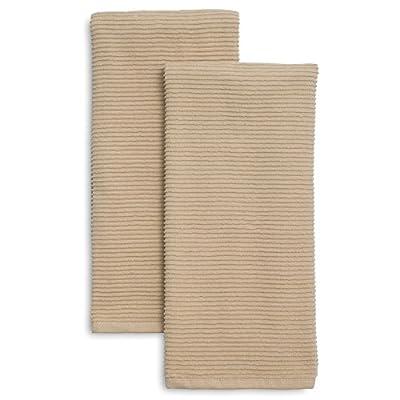 Sur La Table Linen Ribbed Kitchen Towels K-20035 S2 IND , Set of 2, Khaki