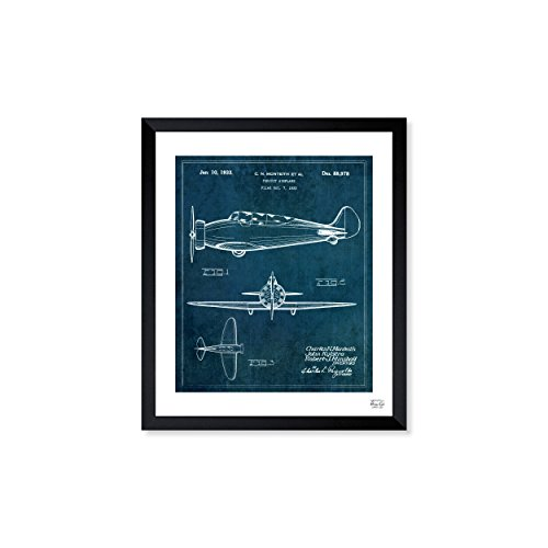 Pursuit Airplane 1933' Vintage Framed Wall Art Print for Home decor & Office. The Airplanes Wall Decor Blueprint Collection by The Oliver Gal Artist Co. 26x32 inch (Airplane Pursuit)