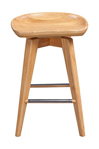 Boraam 56124 Bali Counter Height Swivel Stool, 24-Inch, Natural - Bar Stool Gray Seat