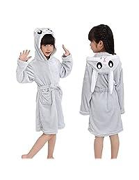 Etitek Kids Unicorn Bathrobe Sleepwear Pajama Soft Fleece Unisex Hooded Push Robe