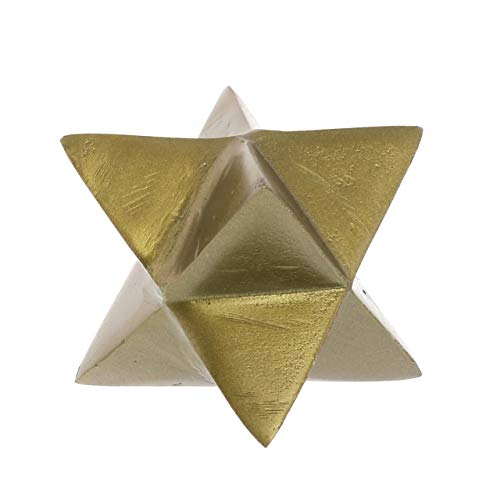 (My Swanky Home Minimalist Cast Metal Gold Star Sculpture | Geometric Shape 8 Point Paperweight)