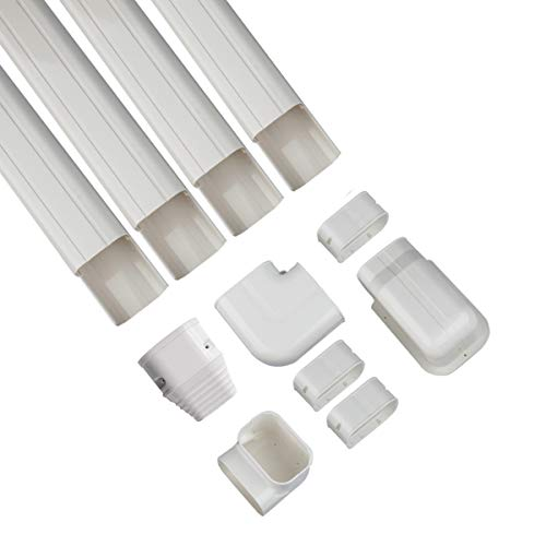 Forestchill Decorative PVC AC Line Set Cover Kit Tubing Slot for Central Air Conditioner, Mini Split A/C Units and Heat Pump System,Condenser Unit (3''w x 14ft)