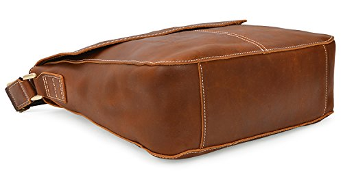 ALTOSY 15 Inch Genuine Leather Messenger Bag Satchel Bag for Office Work College School Business 8069 (light brown) by ALTOSY (Image #5)