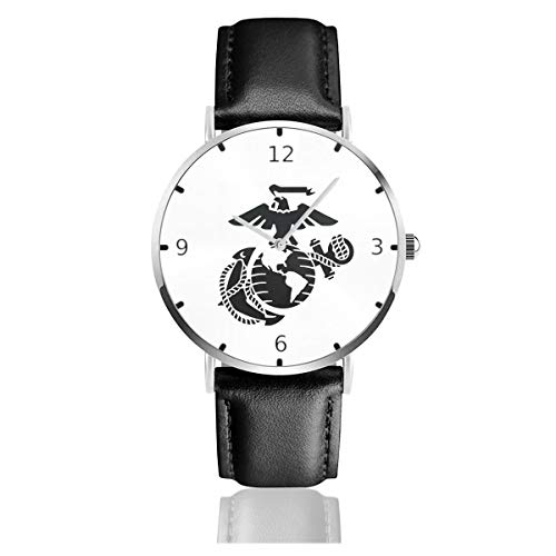 (Men's Fashion Minimalist Wrist Watch Eagle Globe Anchor USMC Marine Leather Strap Watch )