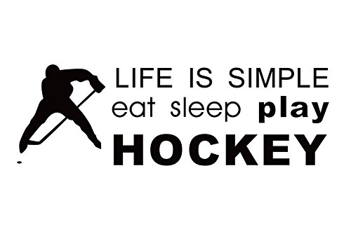 Wansan Sports Wall Stickers Black Hockey Wall Mural Decoration for Bedroom Living Room Gym Boys Kids