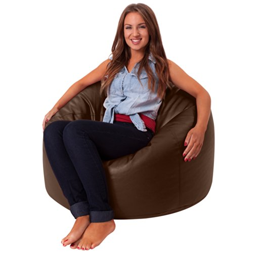 Bean Bag Bazaar Luxury Faux Leather Panelled XL Bean Bag Chair   Extra  Large Bean Bags (Brown): Amazon.co.uk: Kitchen U0026 Home