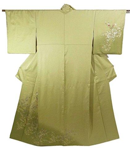 リサイクル 着物 訪問着 萩に葡萄や椿の花模様 刺繍 正絹 袷 裄64cm 身丈164cm