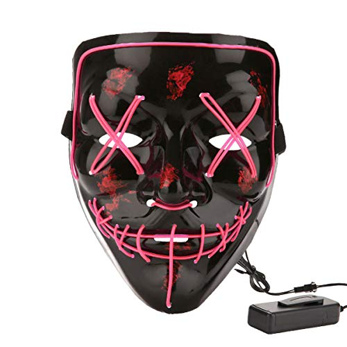 Halloween Costume Festival Parties Scary Mask LED Light Up Masks Pink ()