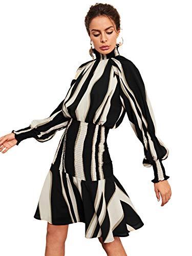 Floerns Women's Ruffle Hem Mock Neck Long Sleeve Stripe Smocked Dress Black S