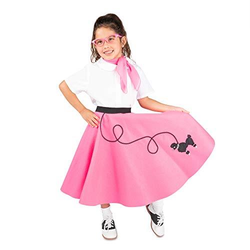 Baby Poodle Skirt Halloween Costume (Hip Hop 50s Shop 4 Piece Child Poodle Skirt Costume Set, Size Large Hot)