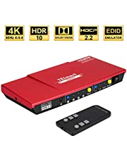 TESmart HDMI Switch 4 Port HDMI Switch 4K @60Hz 4:4:4 HDCP2.2 HDR with IR Remote 2.0/5.1 Audio Output Support Dolby Vision for Xbox One/Fire TV/Laptop/ PS4/Blu-ray Player and More (Red)