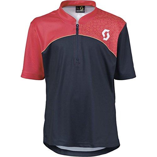 Scott Trail Flow Q-Zip Jersey - Short-Sleeve - Kids' Blue Nights/Teaberry Pink, XL
