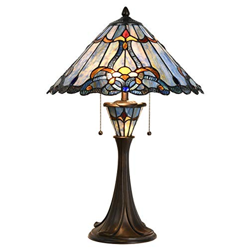 Bieye L10684 Baroque Tiffany Style Stained Glass Table Lamp with 16 inch Wide Blue Shade Double Lit for Bedside Living Room Bedroom, 24.5 inch - 16 Glass Stained Inch Lamp