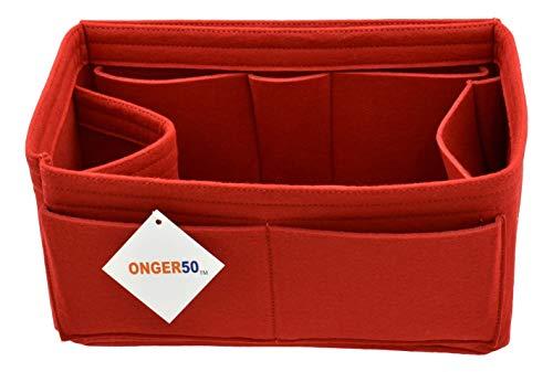 - ONGER50 Felt Purse Handbag Tote Organizer Insert - Multi Pocket Storage Liner & Shaper (Medium, Red)