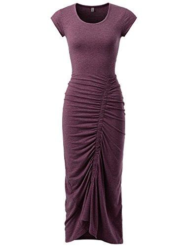NEARKIN (NKNKWBD801 Womens Cap Sleeve Figure Hugging Scoop Neck Shirred Maxi Dress Wine US L(Tag Size XL)