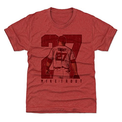 (500 LEVEL Los Angeles Baseball Youth Shirt - Kids X-Small (4-5Y) Tri Red - Mike Trout Clutch R)