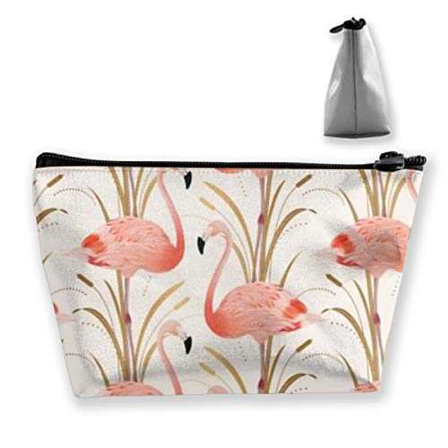 O-X_X-O Durable Waterproof Makeup Bag Large Capacity Pink Flamingo Clipart Style Trapezoidal Storage Travel Bag Wash Cosmetic Pouch Pencil Holder Zipper ()