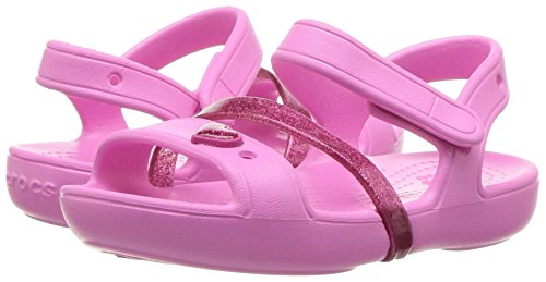 crocs Girls' Lina K Sandal, Party Pink/Candy Pink, 11 M US Little Kid Photo #7