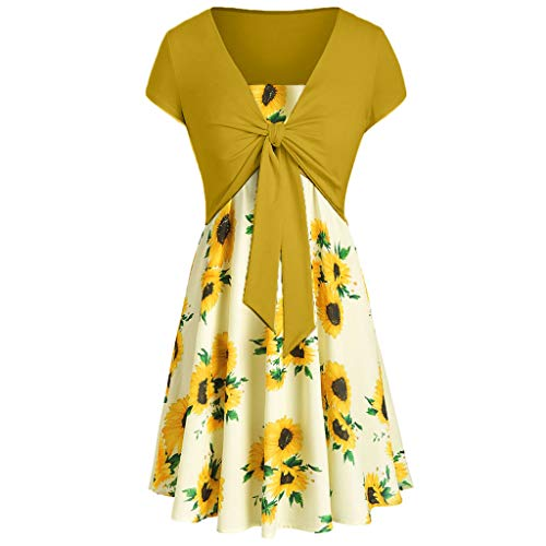 Womens Dresses 2019,Ladies Fashion Short Sleeve Bow Knot Bandage Top Sunflower Print Party Mini Dress ()
